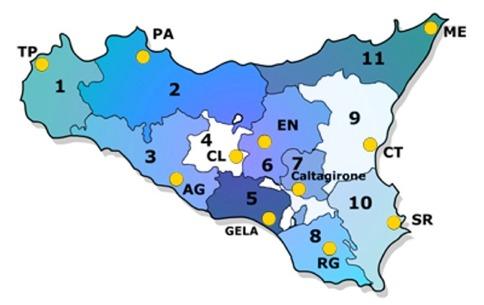 Cartina Sicilia Province.Territorio